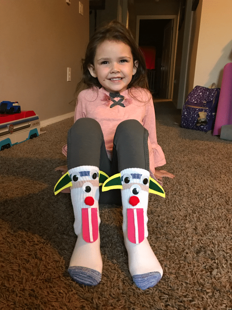 Creating your own silly socks is a great crafts for school age kids