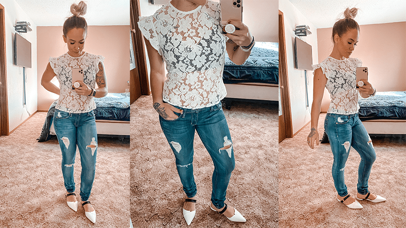 White Lace Top and Skinny Jeans