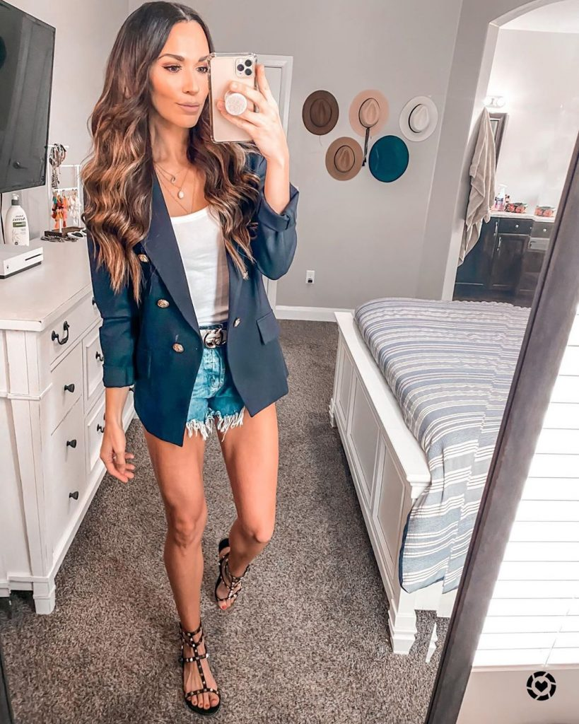Blazer with jean shorts