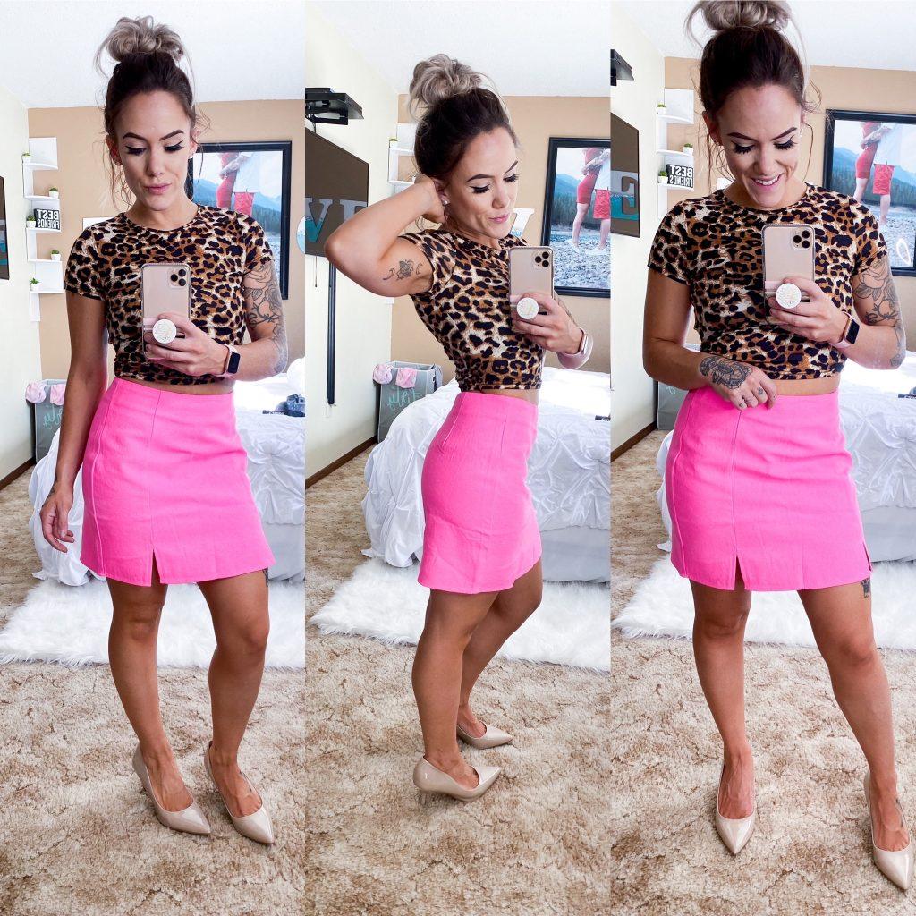 Leopard Print Crop Top and Hot Pink Mini Skirt
