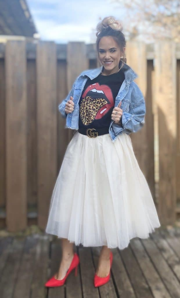 Graphic Tee Styled with a Tulle Skirt