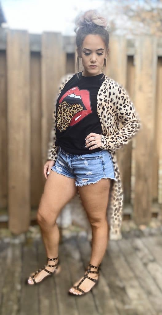 Leopard Print Rolling Stone Graphic Tee