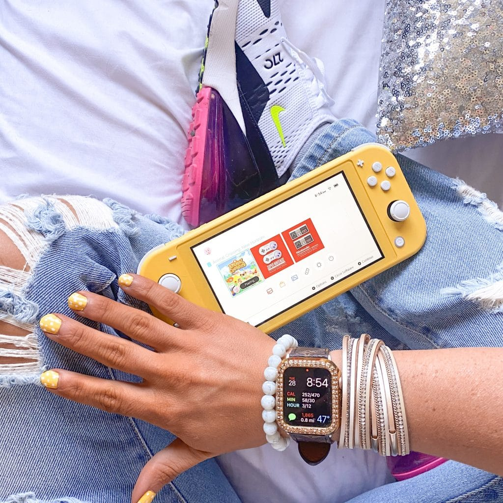 Dotted Nail Polish to Match Nintendo Switch Lite